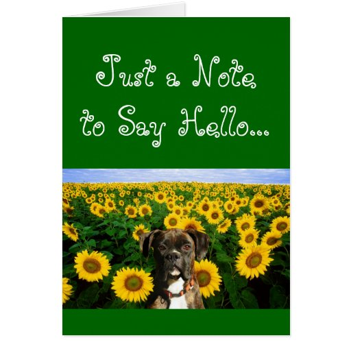 Note to say Hello boxer greeting card