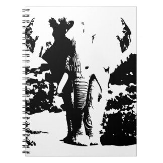 Notebook with black and white print elephant