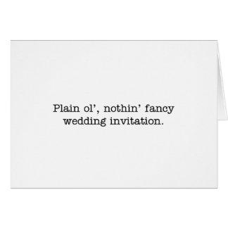 nothin' fancy wedding invite note card