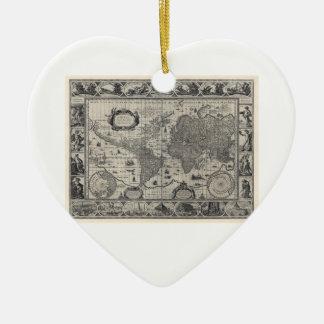 Nova totius terrarum, 1606 Antique World Map Ceramic Heart Decoration