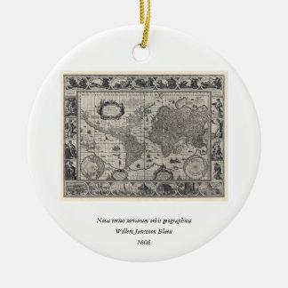 Nova totius terrarum, 1606 Antique World Map Round Ceramic Decoration