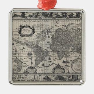 Nova totius terrarum, 1606 Antique World Map Silver-Colored Square Decoration