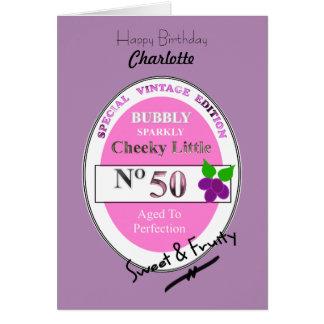 Novelty 50th Milestone Birthday Funny Wine Label Card