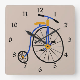 Novelty Old Fashioned Bike Blue Square Wall Clock