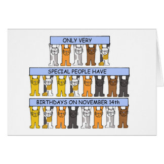 November 14th Birthdays celebrated by cats. Card