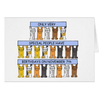 November 7th Birthdays celebrated by Cats. Card