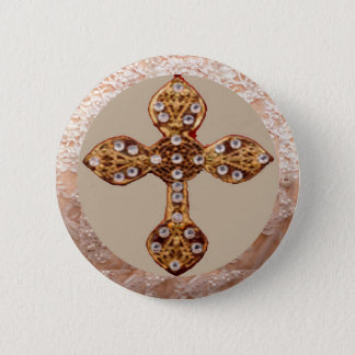 NOVINO Cross with Diamonds 6 Cm Round Badge