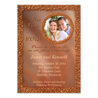 Now and Forever Bronze Photo Wedding Invitation