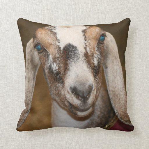 Nubian Dairy Goat Doe White Stripe Caprine Throw Pillows