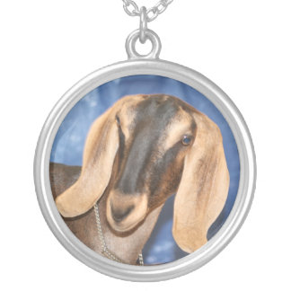Nubian doe head against blue silver plated necklace