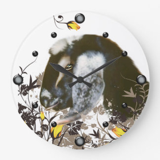 Nubian Goat Portrait Painting Floral  Wall Clock
