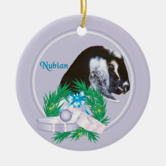 Nubian Goat Wreath Holiday Ornament