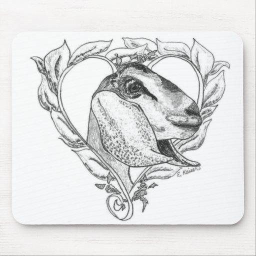 Nubian Head in Heart Mousepad