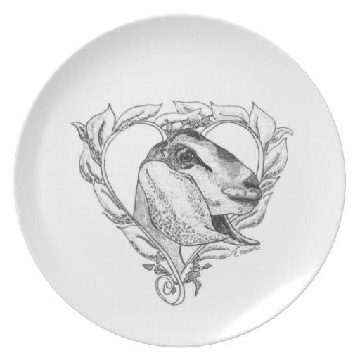 Nubian Head in Heart Dinner Plates