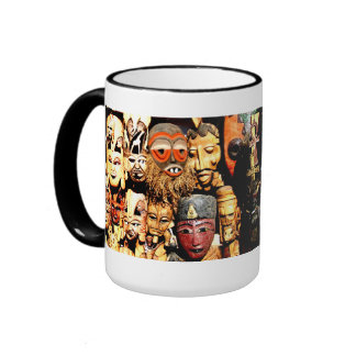 "Nubian Masks ""Get Busy"" Ringer Coffee Mug"