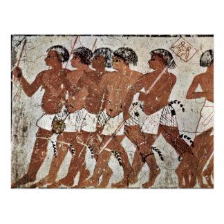 Nubian Mercenaries By Maler Der Grabkammer Des Zen Post Cards