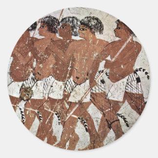 Nubian Mercenaries By Maler Der Grabkammer Des Zen Round Stickers