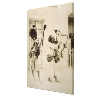 Nubian Musicians (sepia photo) Gallery Wrap Canvas