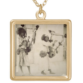 Nubian Musicians (sepia photo) Gold Plated Necklace