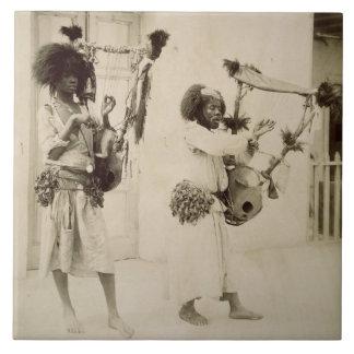 Nubian Musicians (sepia photo) Large Square Tile