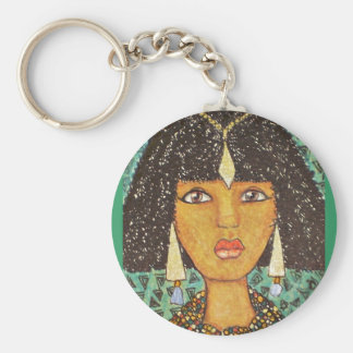 Nubian Queen Illustration in a key ring Basic Round Button Key Ring