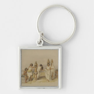"""Nubian Women at Kortie on the Nile, from """"Egypt an Silver-Colored Square Key Ring"""