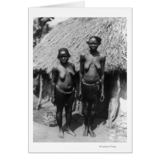 Nubian Women Standing in front of Hut Greeting Card