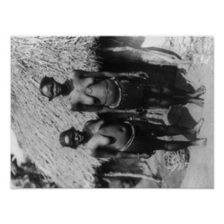 Nubian Women Standing in front of Hut Photograph Poster
