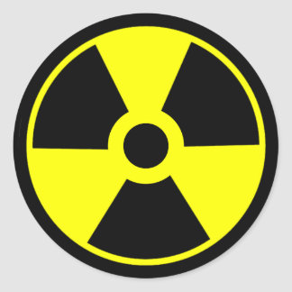 Nuclear Radiation Symbol Radioactive Symbol Round Sticker