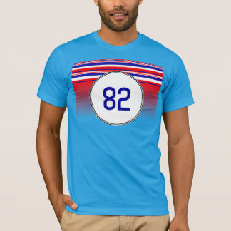Number 82 Red White Blue Stripes T-Shirt