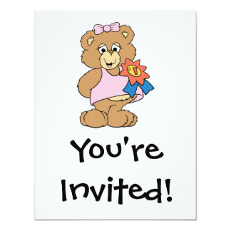 Number One Award Girl Bear 11 Cm X 14 Cm Invitation Card
