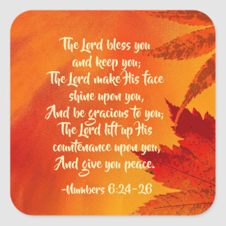 Numbers 6:24-26 The Lord Bless You, Fall Leaves Square Sticker