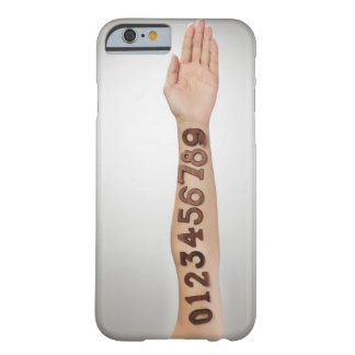 numbers affixed to the arm,ands close-up barely there iPhone 6 case