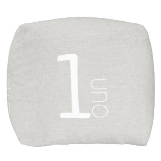 Numbers English Spanish Modern Floor Cushion gray