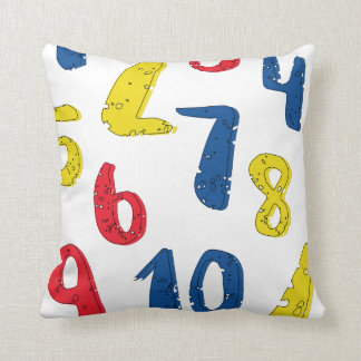 Numerical primary colored throw pillow