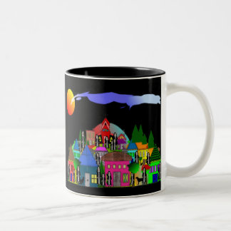 """Nuns of the Village"" Whimsical Art Gifts Two-Tone Coffee Mug"
