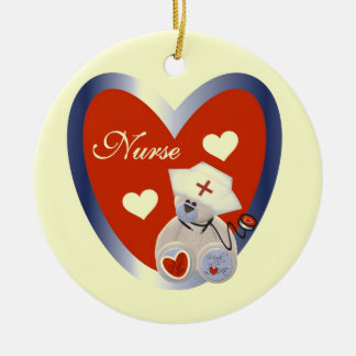 Nurse Bear With Heart T-shirts and Gifts Double-Sided Ceramic Round Christmas Ornament