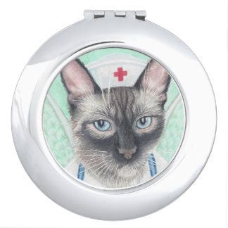 nurse cat compact mirror