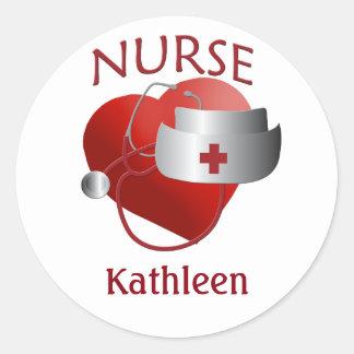 Nurse Name Custom Nurses Heart Sticker