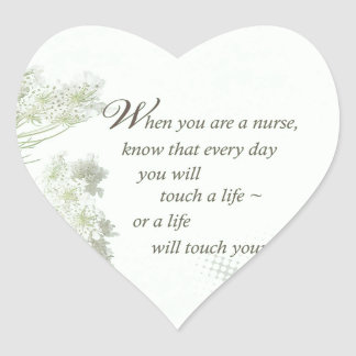 Nurse Touch a Life With Wild Flowers Heart Sticker