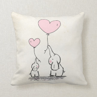 Nursery Pillow Elephants and Heart Balloons