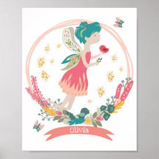 Nursery Poster Spring Fairy Personalised