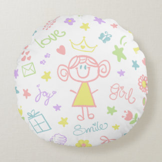 Nursery Throw Pillow for Baby Girl, Pastel
