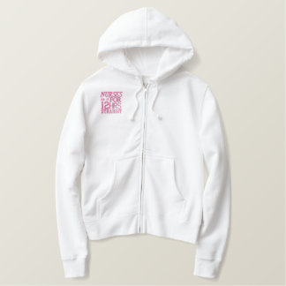 Nurses do it 12 hrs straight!Text Design-Pink Embroidered Hoodie