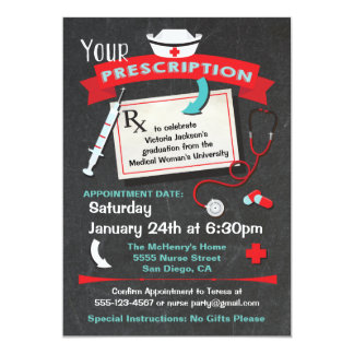 Nursing School Graduation Party Prescription Card