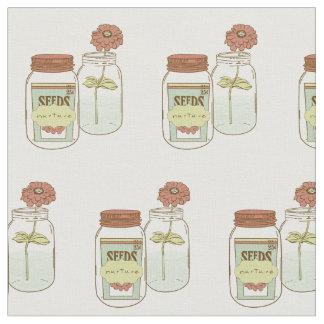 Nurture mason jar and flower fabric