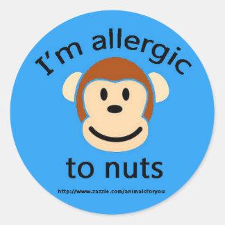 Nut Allergy Blue Classic Round Sticker