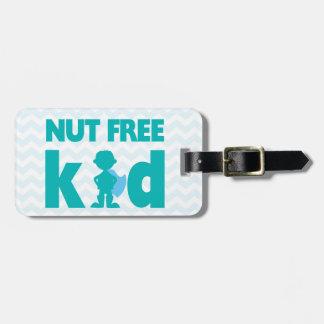 Nut Free Kid Superhero Boy Alert for Medical Kit Luggage Tag