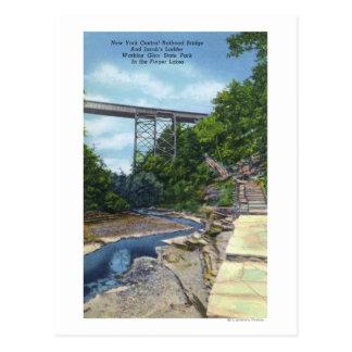 NY Central RR Bridge, Jacob's Ladder Postcard