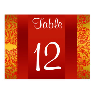 NY City Skyline BW 112 Red Paisley Table Number Postcard